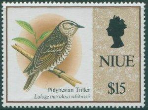 Niue 1992 SG729 $15 Spotted Triller bird QEII MNH