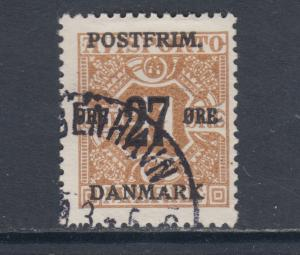 Denmark Sc 153 used 1918 27o on 41o yellow brown Numeral, sound & F-VF