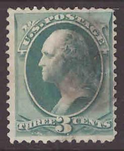 USA Scott 147 used 1870 3c stamp trivial thin nicely centered
