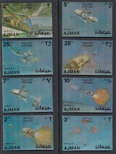 Ajman, Mi cat. 1443-1450. Apollo 11 on 2-D stamps. ^