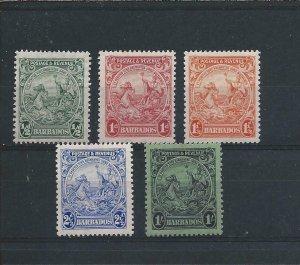 BARBADOS 1925-35 PERF 13½x12½ SET OF FIVE MM SG 230a/237a CAT £128