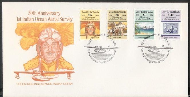 Cocos Is - 1989 50th Anniv of First Indian Ocean Aerial Survey (FDC)