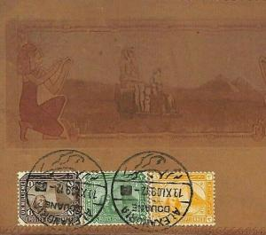 T237a Egypt LEATHER POSTCARD 1909 Pyramids View-Side Franking {samwells-covers}