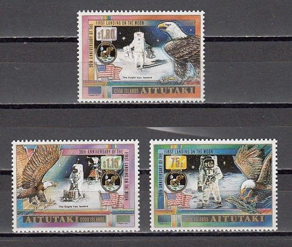 Aitutaki, Scott cat. 435-437. Moon Landing Anniversary issue.