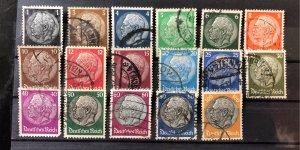 Complete Set of Hindenburg Stamps - Cancelled