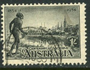 AUSTRALIA Sc#144 SG149 1934 Centenary of Victoria 1sh Top Value Used