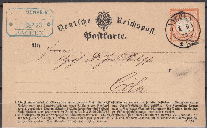 Germany - 1.9.1873 1/2gr Large shield as single franking on card to Coln(2375)