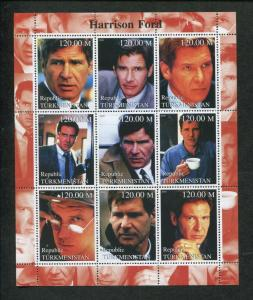 Turkmenistan Actor Harrison Ford Commemorative Souvenir Stamp Sheet