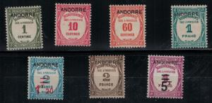 French Andorra SC J9-J15 Mint 1931-1933 SCV$ 546.25 Set