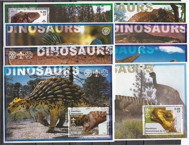 Congo, Dem. Rep. 2002 Cinderella issue. Dinos on 16 s/sheets. Only half shown.