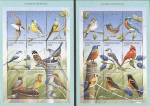 Burkina Faso - 1998 Birds - Set of 2 9 Stamp Sheets - Scott #1104-5
