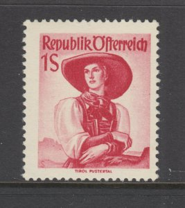 Austria Sc 538 MLH. 1950 1s rose red Costume VLH, F-VF