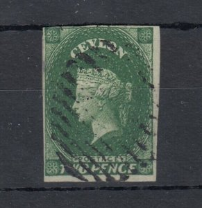 Ceylon QV 1857 2d Green Imperf Large Star J7599