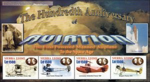 Sierra Leone MNH S/S 100th Anniversary Of Aviation Planes