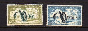 Fr French South Antarctic 1956 Penguins Set # C1-2  MLH