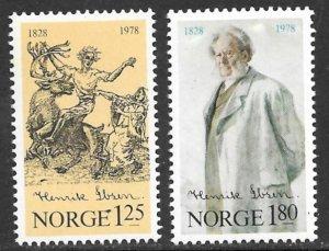 NORWAY 1978 Henrik Ibsen Poet Set Sc 725-726 MNH