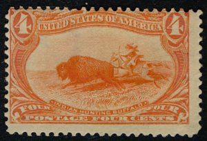 US #287 SCV $100.00 F/VF mint hinged, very bright color,  A SUPER STAMP!   Th...