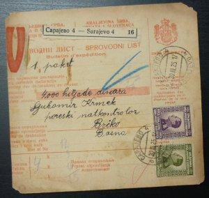 Yugoslavia 1925 Parcel Card from Sarajevo to Brcko Bosnia & Herzegovina A13