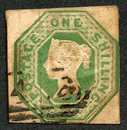 SG55 1/- Green Embossed (Bottom right corner re-attached) Cat 1000 pounds