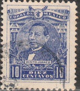 MEXICO 511, 10¢ BENITO JUAREZ, USED. F-VF. (632)