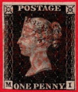 GBR SC #1 U (M,I) 1840 Queen Victoria P8? 3 margins w/red cancel CV $320.00