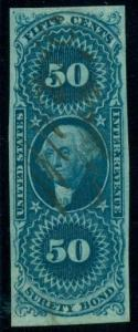 US #R63a 50¢ Surety Bond, Imperforate, used, VF, Scott $400.00