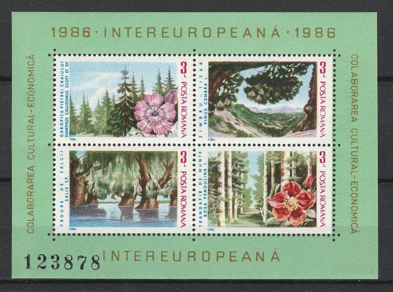Romania MH S/S Cultural Economics Flowers 1986