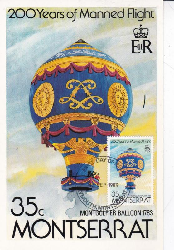 Montserrat 1983 Montgolfier Balloon 1783 First Day Card Unused VGC