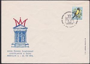 YUGOSLAVIA 1975 CHESS cover and commem Chess postmark.......................7275