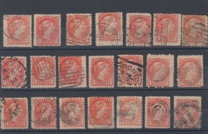 3 cent Small Queen LOT x 21 Canada used