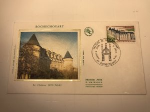 France Colorano silk FDC, 11 janvier 1975, Chateau de Rochechouart