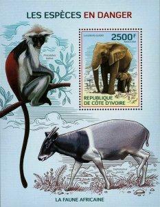Endangered Species Stamp Monkey Elephant Wild Animal S/S MNH #1623 / Bl.211