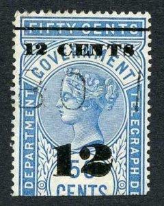 Ceylon QV SGT27 12c on 50c Blue Telegraph Stamp Wmk Crown CA (Narrow)