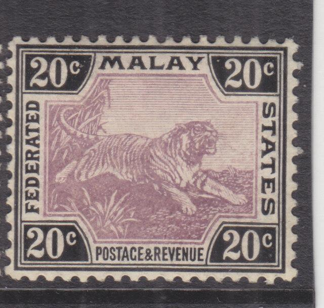 FEDERATED MALAY STATES, 1905 Crown CA, Chalky paper, 20c. Mauve & Black, lhm.