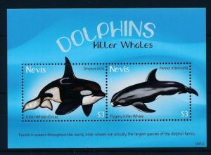 [34995] Nevis 2009 Marine Life Whales Orca MNH Sheet