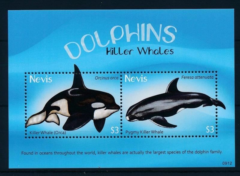 [34995] Nevis 2009 Marine Life Whales Orca MNH Sheet
