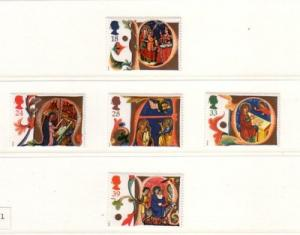 Great Britain Sc  1416-20 1991 Christmas stamp set mint NH