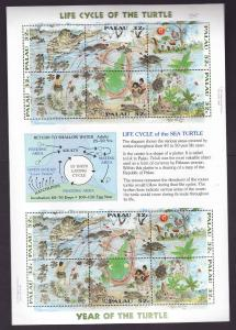 Palau-Sc#383-Unused NH sheet-Marine Life-Reptiles-Sea Turtle-1996-