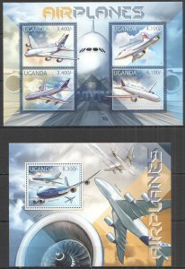UG052 2012 UGANDA AIRPLANES AVIATION TRANSPORT #2921-4+BL398 MNH