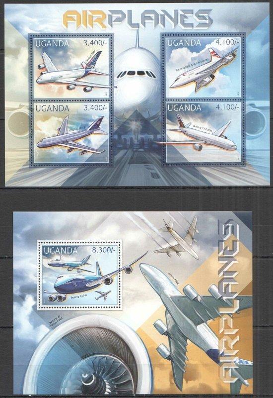 UG052 2012 UGANDA AIRPLANES AVIATION TRANSPORT #2921-4+BL398 MNH