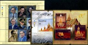 HERRICKSTAMP NEW ISSUES THAILAND Sc.# 2979-81 King Bhumibol Royal Cremation S/S