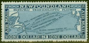 Newfoundland 1931 Air $1 Dp Blue SG194 V.F Lightly Mtd Mint