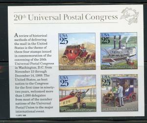 UNITED STATES SCOTT# 2438 UPU CONGRESS SOUVENIR SHEET MNH AS SHOWN