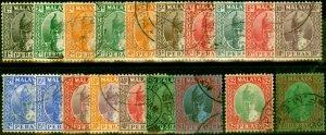 Perak 1938-41 Set of 19 SG103-121 Fine Used