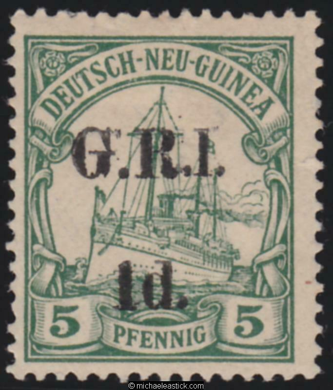 1914 New Guinea 1d GRI overprint on 5pf with 1 for I variety, SG 2a MH