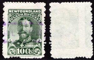 R17b, NSSC, offset error, 10cgreen, Inland Revenue, 1910, KGV, Newfoundland