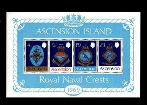 ASCENSION - 1969 - COATS OF ARMS - ROYAL NAVY SHIPS - CRESTS - MINT MNH S/SHEET!