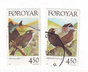 Faroe Islands Sc 330-1 1998 bird stamps used