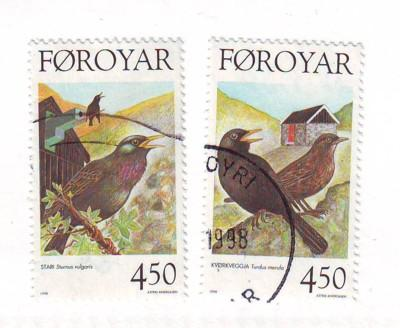 Faroe Islands Sc 330-1 1998 bird stamps used