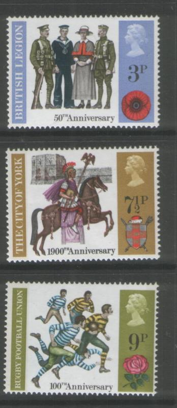 G B 1971 General Anniversaries Set of (3) Scott # 654-56